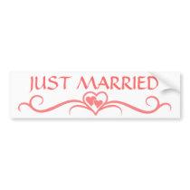 Romantic Just Married Pink Heart Scroll Wedding Bumper Sticker