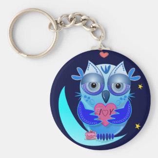 Romantic keyholder with cartoon owl & text keychain