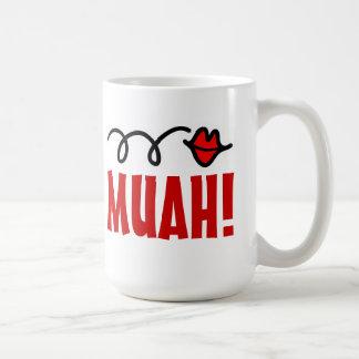 Romantic kiss mug with red lips   Muah!