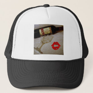 Romantic kiss Red wine glasses I Love Wine Trucker Hat