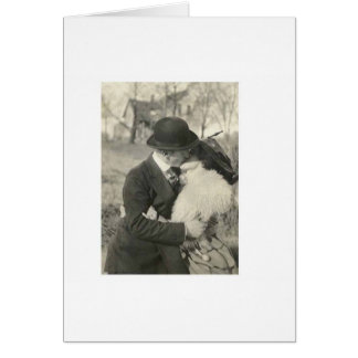 Romantic kissing with fur card