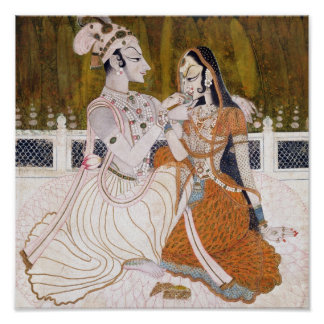Romantic Krishna and Radha Painting Poster