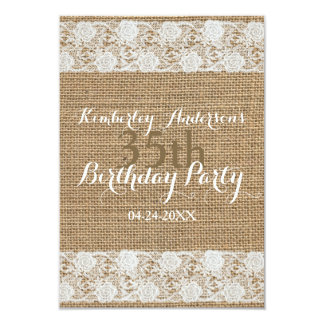 Romantic Lace and burlap - 30th Birthday Party Card