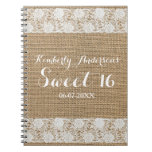 Romantic Lace and Burlap - Sweet 16 Guest Book Spiral Note Book