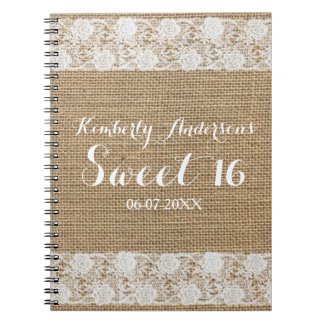 Romantic Lace and Burlap Sweet 16 Guest Book Spiral Notebook