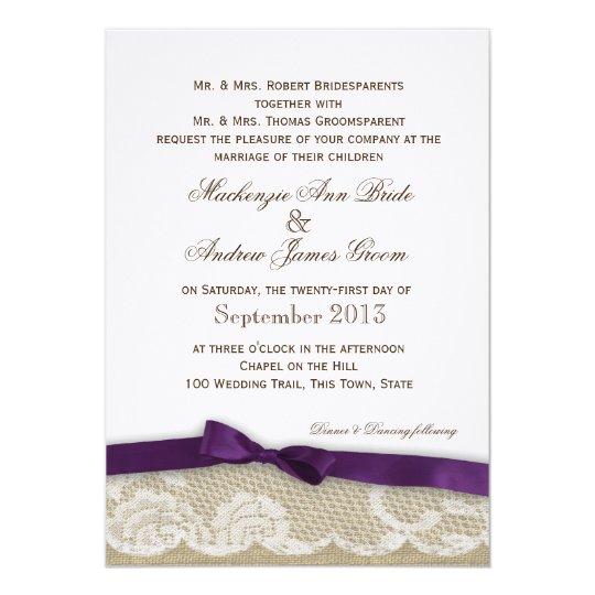 Dark Purple Wedding Invitations: Romantic Lace And Dark Purple Bow Wedding Invitation
