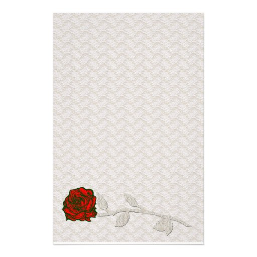 Romantic Lace and Rose Stationary Personalized Stationery