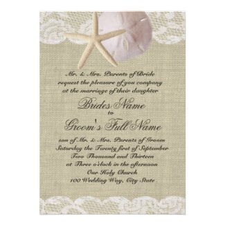 Romantic Lace and Sea Shell Beach Wedding Personalized Invitation