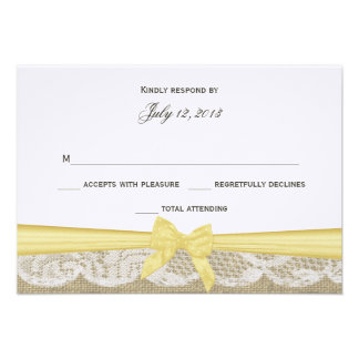 Romantic Lace and Yellow Bow Response Announcements