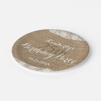 Romantic Lace burlap 25th Birthday Paper Plates