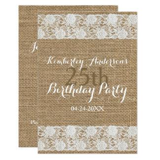 Romantic Lace burlap 25th Birthday Party Flat Card