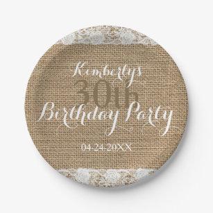Romantic Lace burlap 30th Birthday Paper Plates  sc 1 st  Zazzle & Burlap Plates   Zazzle