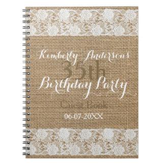 Romantic Lace burlap 35th Birthday Guest Book