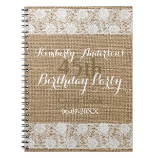 Romantic Lace burlap 45th Birthday Guest Book