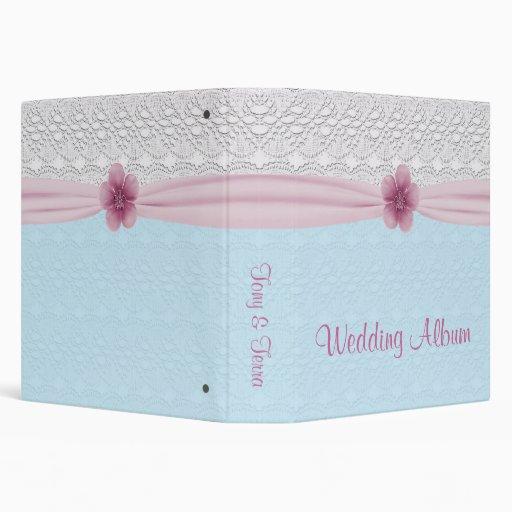 Romantic Lace & Flower, Baby Blue & Pink Vinyl Binder