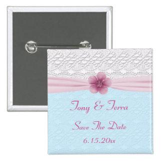 Romantic Lace & Flower, Baby Blue & Pink Pinback Button