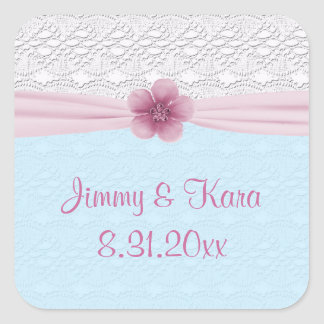 Romantic Lace & Flower, Baby Blue & Pink Square Sticker