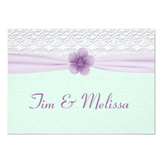 Romantic Lace & Flower, Lavender & Mint Green Card