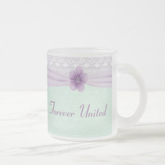 Romantic Lace & Flower, Lavender & Mint Green Frosted Glass Coffee Mug