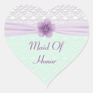Romantic Lace & Flower, Lavender & Mint Green Heart Sticker