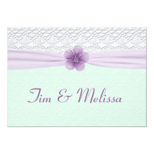 Romantic Lace & Flower, Lavender & Mint Green 5x7 Paper Invitation Card
