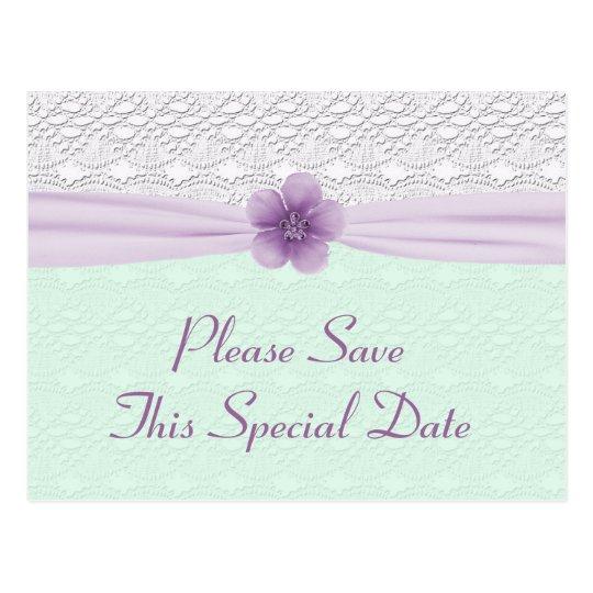 Romantic Lace & Flower, Lavender & Mint Green Postcard