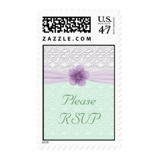 Romantic Lace Flower, Lavender & Mint Green RSVP Postage