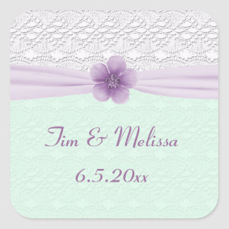 Romantic Lace & Flower, Lavender & Mint Green Square Sticker