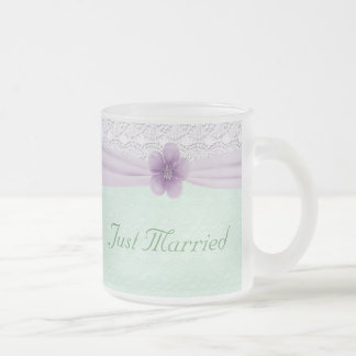 Romantic Lace Flower Mint Green Lavender Newlyweds Frosted Glass Coffee Mug