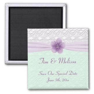 Romantic Lace Flower Mint Green Lavender Save Date Magnet