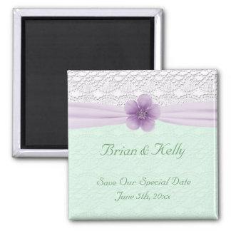 Romantic Lace Flower Mint Lavender Date Saver Magnet