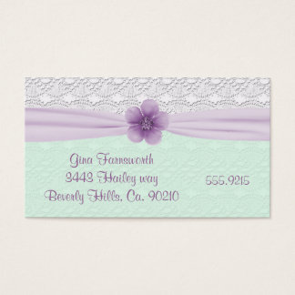 Romantic Lace Lavender Flower Minty Green Business Card