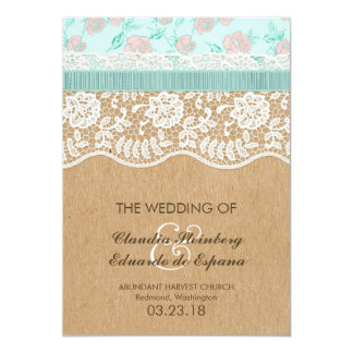 Romantic Lacey Dreams With Flowers 5x7 Paper Invitation Card