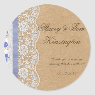 Romantic Lacey Dreams With Flowers Classic Round Sticker