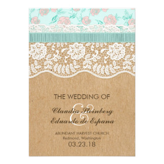 Romantic Lacey Dreams With Flowers Custom Announcement
