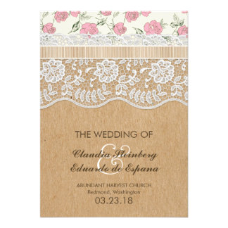 Romantic Lacey Dreams With Flowers Personalized Invitations