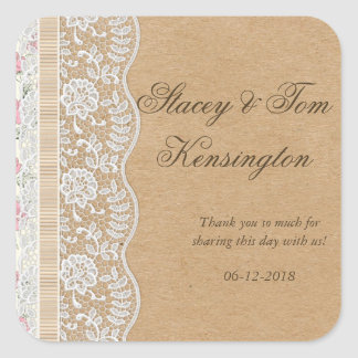 Romantic Lacey Dreams With Flowers Square Sticker
