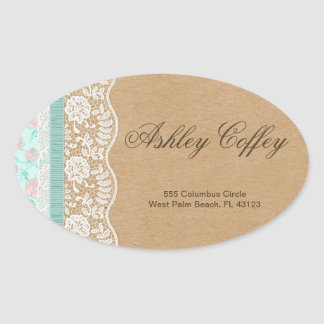 Romantic Lacey Dreams With Flowers Oval Sticker