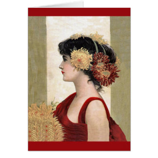 Romantic Lady in Red Note Card
