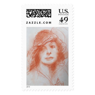 ROMANTIC LADY/ Sepia Brown Postage Stamp