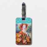 ROMANTIC LADY WITH PEACOCK FEATHER DAMASK MONOGRAM TAG FOR LUGGAGE