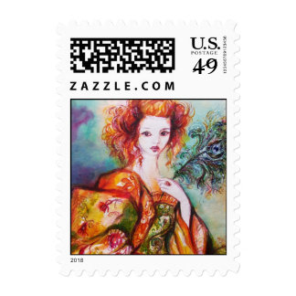 ROMANTIC LADY WITH PEACOCK FEATHER POSTAGE STAMP