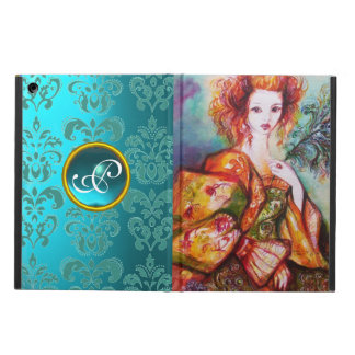 ROMANTIC LADY WITH PEACOCK FEATHER Teal Damask Cover For iPad Air