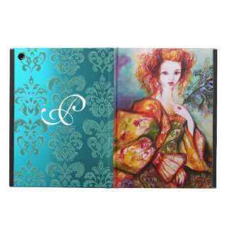 ROMANTIC LADY WITH PEACOCK FEATHER Teal Damask iPad Air Cover