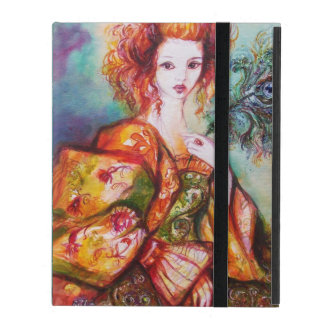 ROMANTIC LADY WITH PEACOCK FEATHER Teal Damask iPad Cover