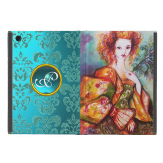 ROMANTIC LADY WITH PEACOCK FEATHER Teal Damask iPad Mini Case