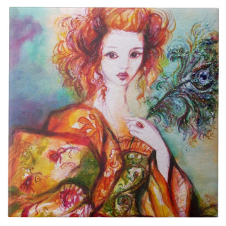ROMANTIC LADY WITH PEACOCK FEATHER LARGE SQUARE TILE