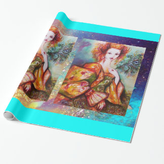 ROMANTIC LADY WITH PEACOCK FEATHER WRAPPING PAPER