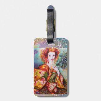 ROMANTIC LADY WITH SPARKLING PEACOCK FEATHER BAG TAG