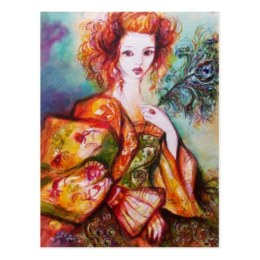 ROMANTIC LADY WITH SPARKLING PEACOCK FEATHER POSTCARD